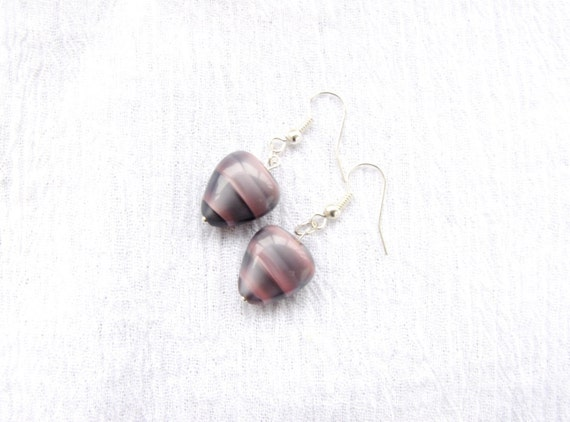Pink Grey lilac earrings