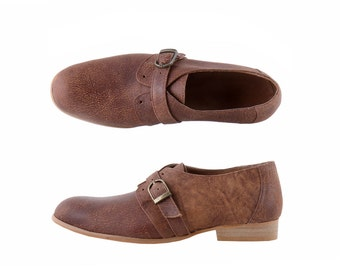 Women's monk shoes , casual brown Handmade Leather shoes on sale