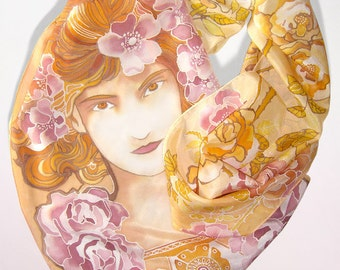 Silk scarf 'Mucha Rose' - Art Nouveau silk scarves - hand painted fine art  - mucha scarf - gold dusky pink - jugendstil scarf
