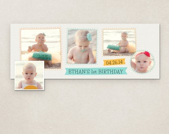 First Birthday Facebook Timeline Cover - psd template - INSTANT DOWNLOAD FC043