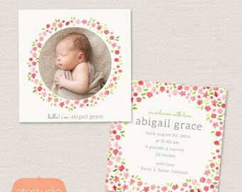 Birth Announcement Template - Watercolor Flowers CB020 - 5x5 card - INSTANT DOWNLOAD