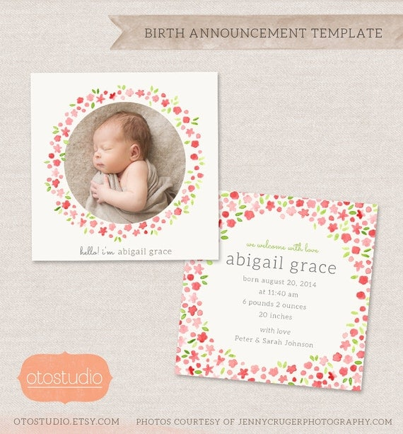 items similar to birth announcement template watercolor flowers cb020 5x5 card instant. Black Bedroom Furniture Sets. Home Design Ideas