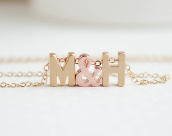Gold Initial Necklace, Couples Necklace, Love Necklace, Gold Love Letters Necklace
