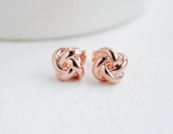 Rose Earrings Etsy Rose Gold Knot Earrings