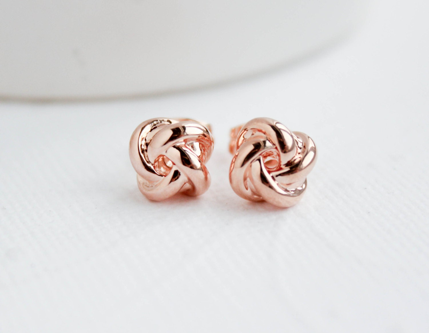 Rose Gold Knot Earrings Knot Earrings Rose Gold Studs