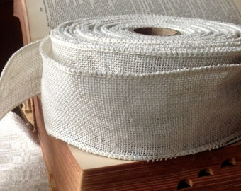rustic white burlap wired ribbon