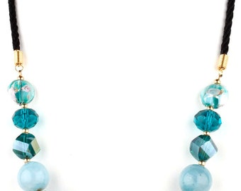 Teal Beaded Murano Glass and Crystal Fashion Necklace