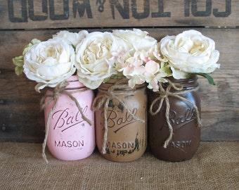 SALE!! 3 Pint Mason Jars, Ball jars, Painted Mason Jars, Wedding Flower Vases, Cowgirl Birthday Centerpieces, Pink, Tan And Brown Mason Jars