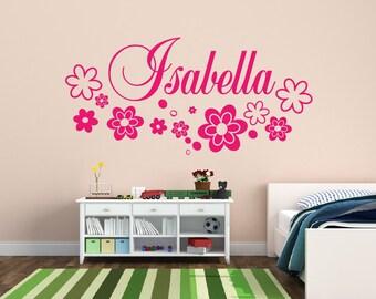 Flower Name Wall Decal Nursery Decor Flowers - Kids Room Teen Name Vinyl Wall Decal