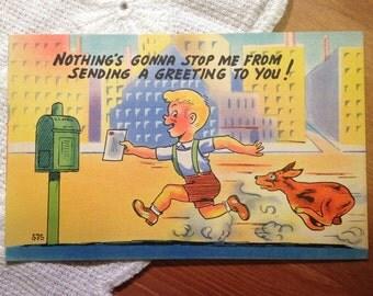 Vintage Comic Postcard, Greeting Card, Boy and a Dog - 1940s Paper Ephemera