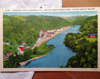 Vintage Postcard, French Broad River, Marshall, North Carolina - 1940s Linen Paper Ephemera