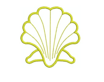 Applique Machine Embroidery Design Instant Download- Scallop Shell