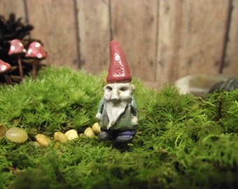 Miniature Clay Gnome. Terrarium gnome. Terrarium supplies. Garden accessories. Fairy Garden - Lawn Gnome. Miniature Gnome. Gnome Figurine