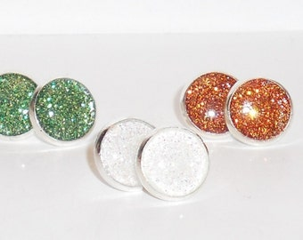March Collection Glitter 10mm Post Earrings Set of 3