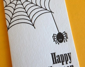 SALE: Spiderweb Mini Card- Happy Halloween Letterpress Card