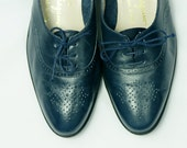 Vintage Blue Oxfords, Salvatore Ferragamo Boutique Shoes, Lace Up Shoes, Brogues, Leather Flats, Made in Italy, Womens size 6.5 6 1/2 B