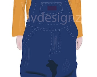 Full Body Personalized Child Digital Illustration, Digital Drawing, Vector Drawing, PDF File, Customized Gift, Illustration of Child
