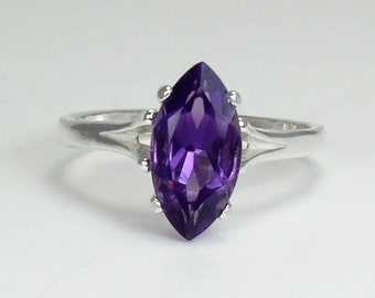 Sterling Silver African Amethyst Ring / Natural Amethyst Silver Ring February Birthstone