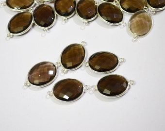 5 pc of Smokey oval connector in 92.5 sterling silver