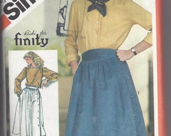 Simplicity 5576 Pattern for Misses' Side Button Skirts, Size 10, From 1982, by Ricki for finity, Vintage Pattern, Home Sewing Pattern, 1980s