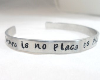 DAVE MATTHEWS band, DMB, Personalized Hand Stamped Bracelet -The Future is no place to place your better days
