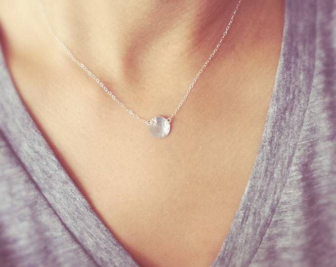 Hammered Sterling Silver Disc Necklace - Silver disc necklace
