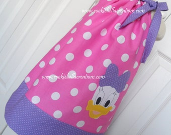 Daisy Duck Inspired Pink/Purple Polka Dot Pillowcase  Dress