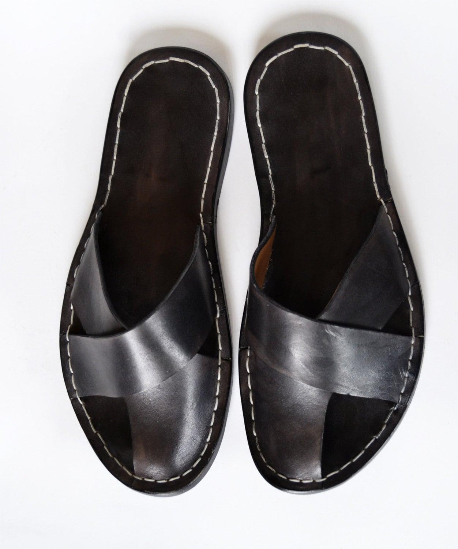 Leather Sandals Men Handmade Cross Band M By Mdesignworkshop