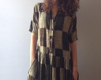 1980s Block Pattern Dress