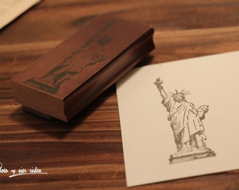 Korean wooden wood square Statue of Liberty Stamp Rubber Stamp Set stamp up stampin up