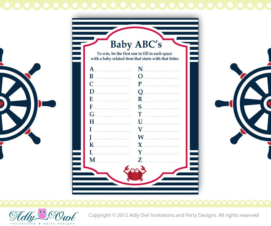 Bright image within free printable nautical baby shower games