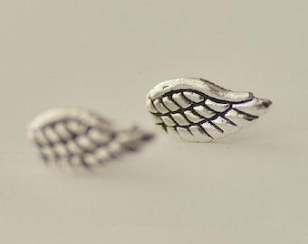 925 Sterling Silver Wings Retro Style Stud Earrings 320
