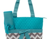 Personalized Aqua Chevron Zig Zag Diaper Bag with Changing Pad   Zig Zag Diaper Tote  Chevron Quilted Diaper Bag