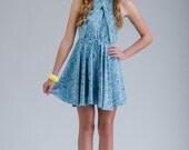 Yogi Dress. Bright Fun Floral Preppy Halter Cutout Chic Exclusive Style.