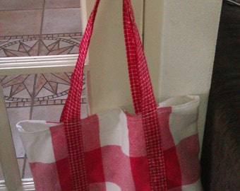 Handbag made of red/white tea towels with lining, tote bag, marketbag, schoolbag, shoppingbag