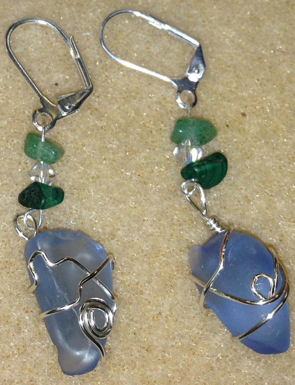 genuine handmade sea glass earrings made from sea by