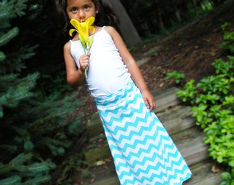 The Child Chevron Maxi Skirt -- Girl's Maxi Skirt -- Jersey Cotton Knit Skirt -- You Chose the Color