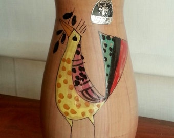 MCM Italian Pottery Vase - Florentine Original Made in Italy Modernist Hand Painted Colorful Bird Design Red Clay
