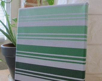 Green and Gray Ombre Stripes Painting