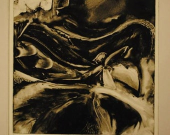 Monotype print in black and white with an abstract setting.