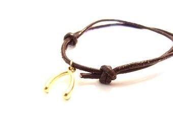 Gold Vermeil Wishbone on Leather Cord--Anklet/Bracelet