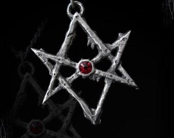 Handmade Unicursal Hexagram, thelema, crowley emblem, star of thelema, gothic, medieval necklace,lucifer, satan, devil demonic, unholy