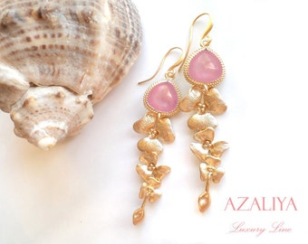 Magnolia Chandeliers with Rosebud Crystals in Gold Vermeil. Azaliya Luxury Line. Bridal Jewelry, Bridesmaids Gifts. Lady Pink Earrings.