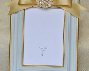 Family Picture Frame Gray Blue Gold Pearls-CHOOSE your Size 4x6, 5x7, 8x10