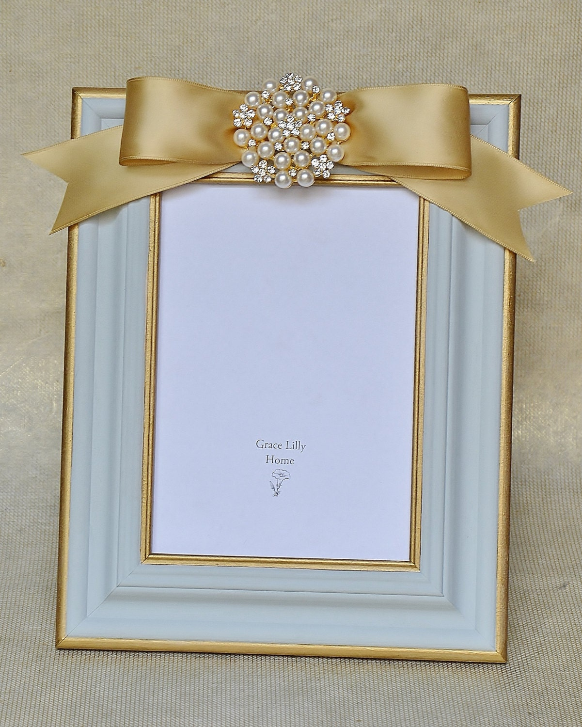 family picture frame gray blue gold pearls choose your size. Black Bedroom Furniture Sets. Home Design Ideas
