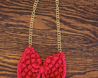 Knitted Items- Knitted Jewlery- Hand Knit Bowtie Necklace- Unique Jewlery