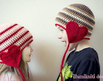 Valentine Day Crochet Hat - Kids Valentine Day Hat - Valentine Day Photography Prop - Valentine Day Prop - Made to Order