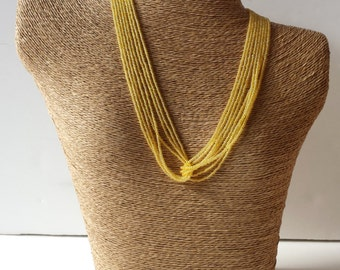 Yellow seed bead necklace, yellow necklace, wedding necklace, wedding jewelry, beaded necklace, seed bead jewelry, bridesmaid gift