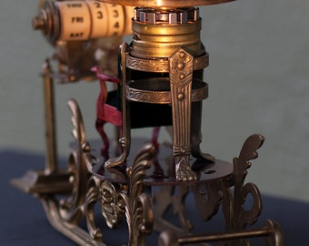 Steampunk Time Machine. OOAK model, hand built form brass, wood, etc.  Executive gift.