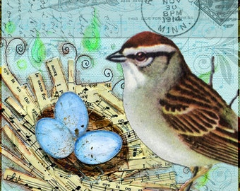 """Song Nest - Vintage Music Collage - 6"""" x 6"""" Art Wall Box"""